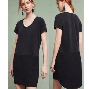 ANTHROPOLOGIE DOLAN BLACK MIXED MEDIA SHIRT DRESS